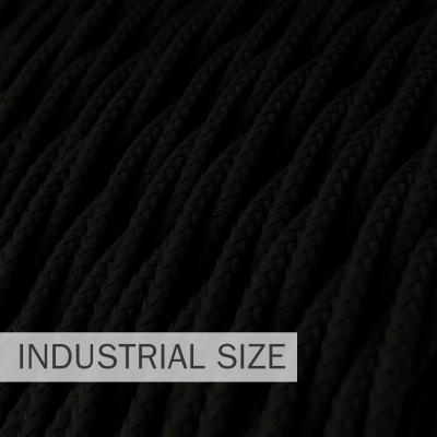 Large section electric cable 3x1,50 twisted - covered by rayon Black TM04