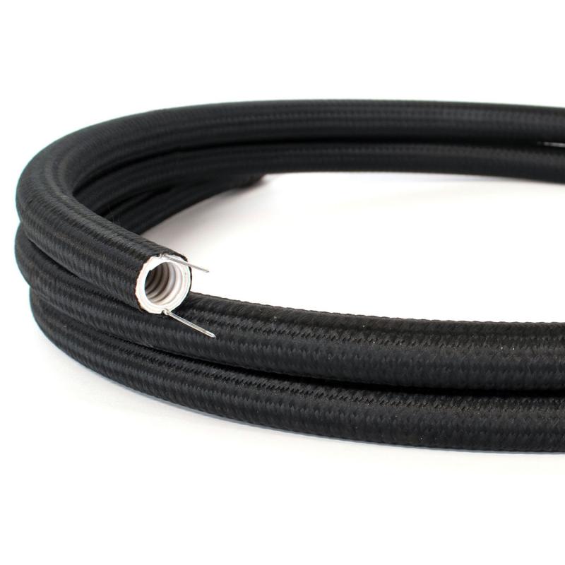 Creative-Tube flexible conduit, Rayon Black RM04 fabric covering, diameter 20 mm