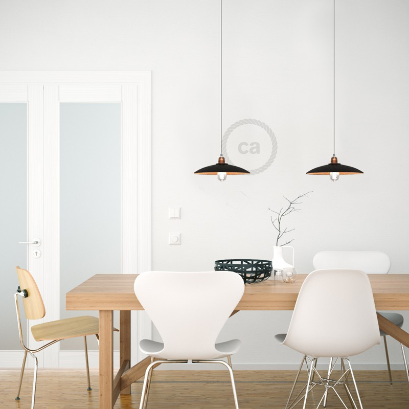 Pendant lamp with textile cable, ceramic Dish lampshade and metal details - Made in Italy