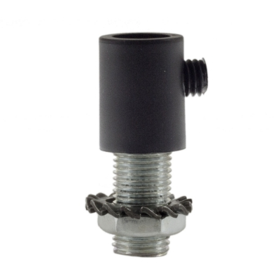 Cylindrical plastic cable clamp complete with rod, nut and washer