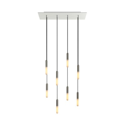 8-light pendant lamp with 675 mm rectangular XXL Rose-One, featuring fabric cable and metal finishes