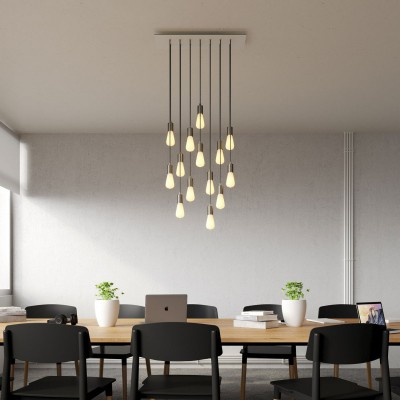 14-light pendant lamp with 675 mm rectangular XXL Rose-One, featuring fabric cable and metal finishes
