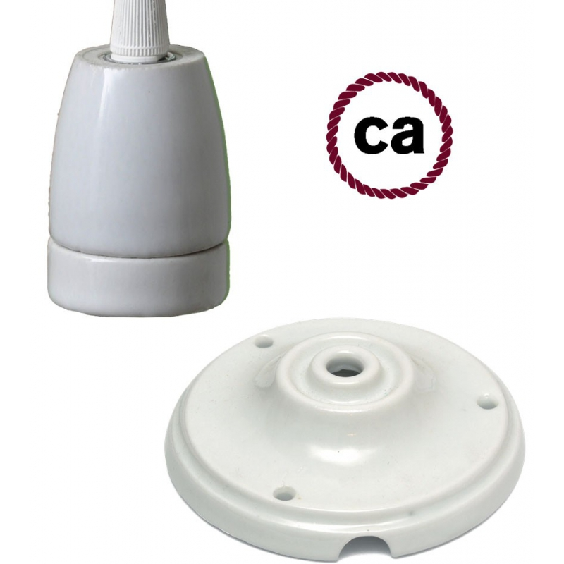 Porcelain socket and rose kit, without cable