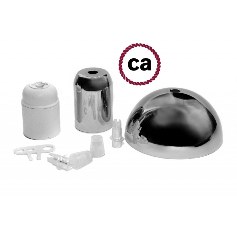 Chromed socket and rose kit, without cable
