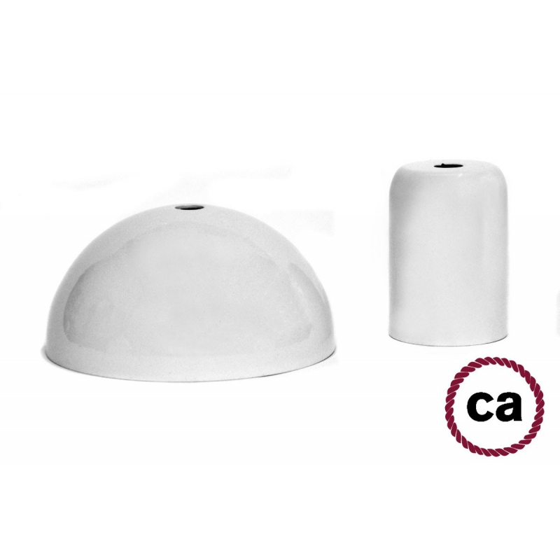 White painted socket and rose kit, without cable
