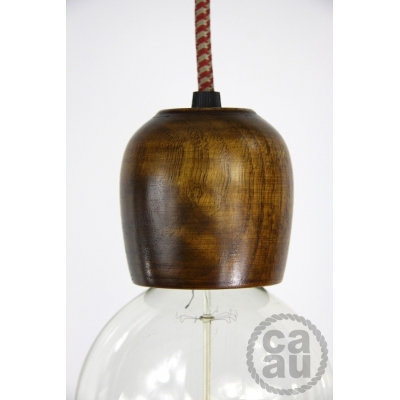 Dark Wood Pendant with Vintage Red