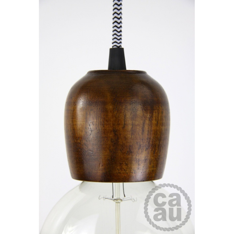 Dark Wood Pendant with B/W Zig Zag