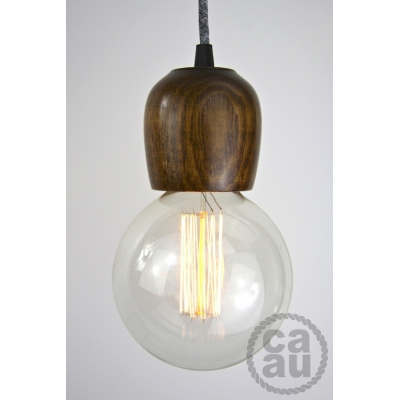 Dark Wood Pendant with Grey Linen