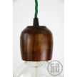 Dark Wood Pendant with Green Twisted