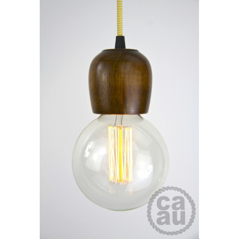 Dark Wood Pendant with Zig Zag Yellow