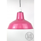 Metal Shade Pendant Pink with Grey Linen