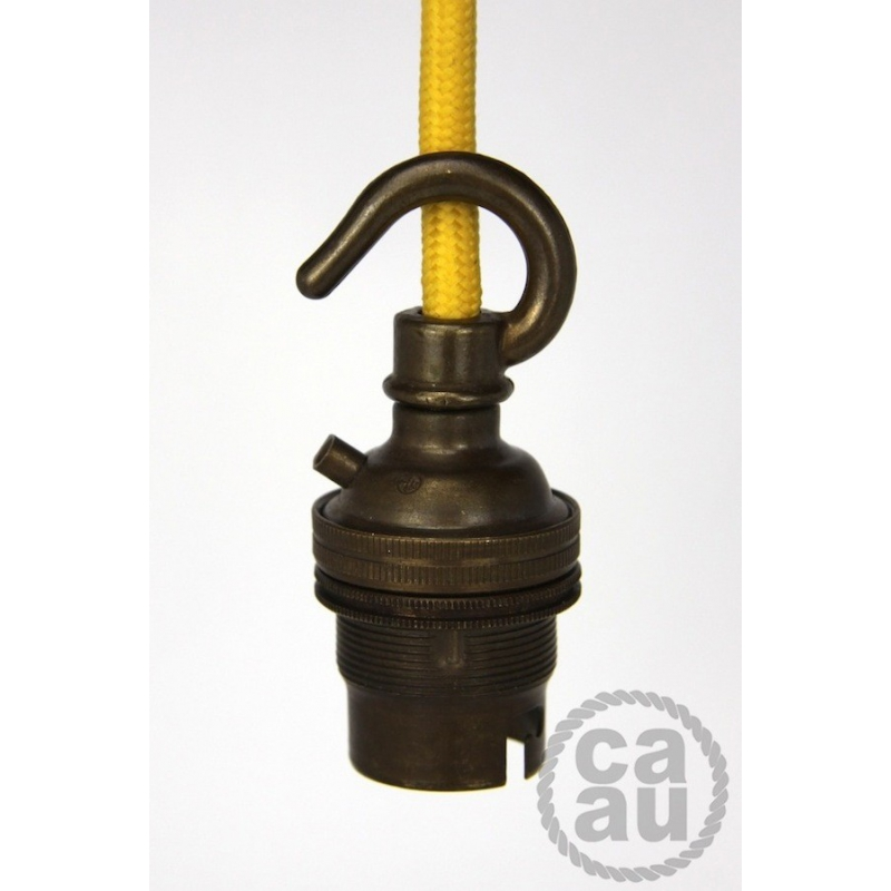 Lampholder Small Brass with Hook