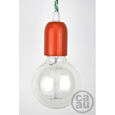 Pendant: Orange with Green houndstooth Cord