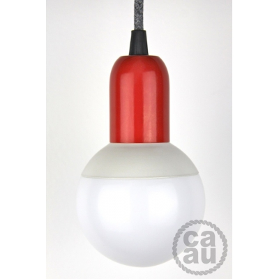 Pendant: Red with Grey Linen Cable
