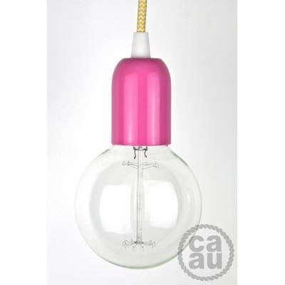 Pendant: Pink with Yellow Zig Zag Cord